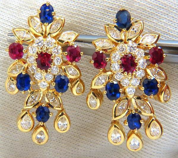 7.00ct natural sapphire ruby diamond dangle earrings 18kt cocktail