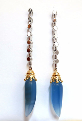 Natural Chalcedony Dangle earrings 14kt