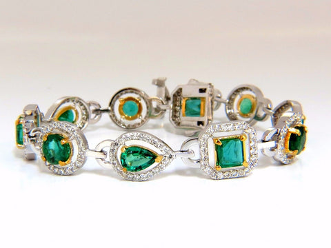 10.62ct natural emeralds diamond halo bracelet 14kt