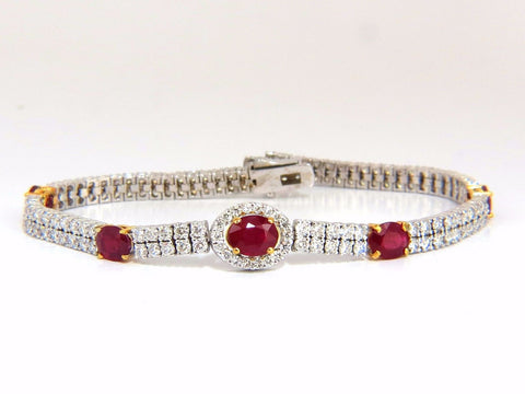 7.34ct natural ruby diamonds bracelet regency deco 14kt double row cluster