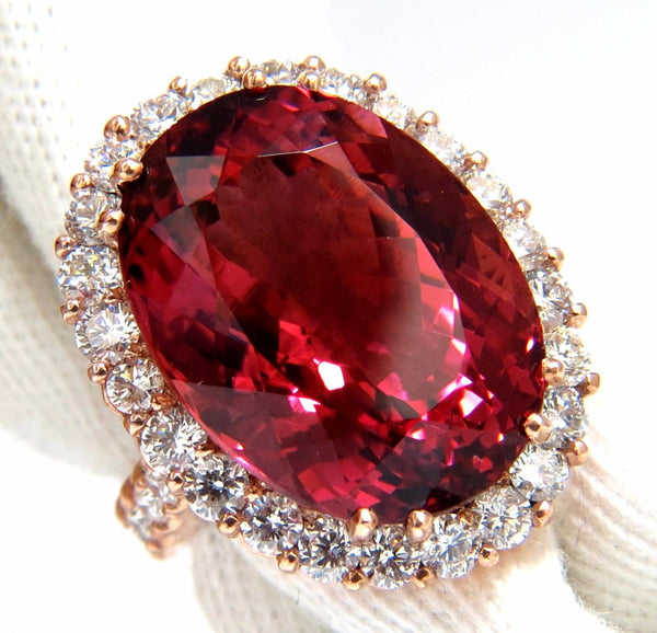 GIA Certified 24.13ct natural red tourmaline 3.00ct diamonds ring 18kt Rubellite