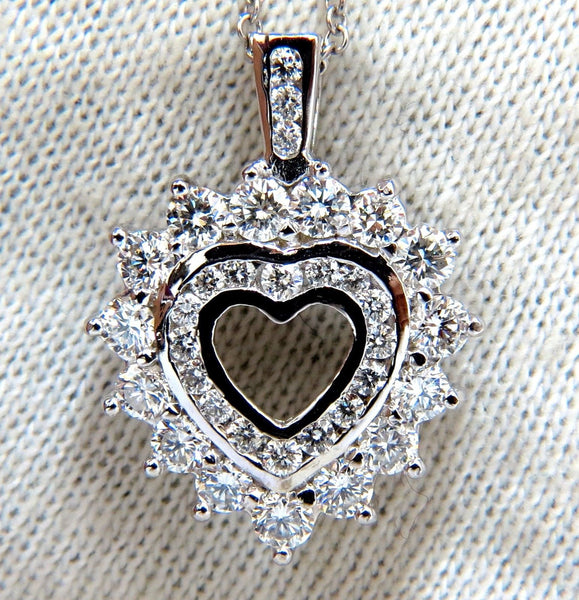 1.20ct natural diamonds heart pendant 14kt double row