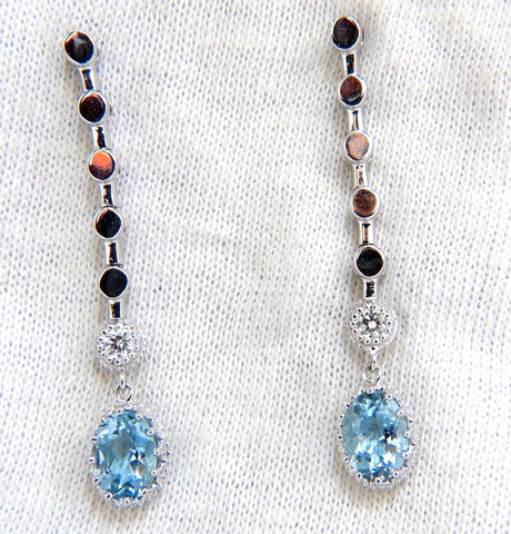 2.60ct natural aquamarines diamonds dangle earrings 14kt