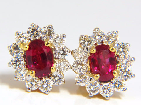 GIA Certified 3.68ct. Natural ruby diamond earrings 18kt