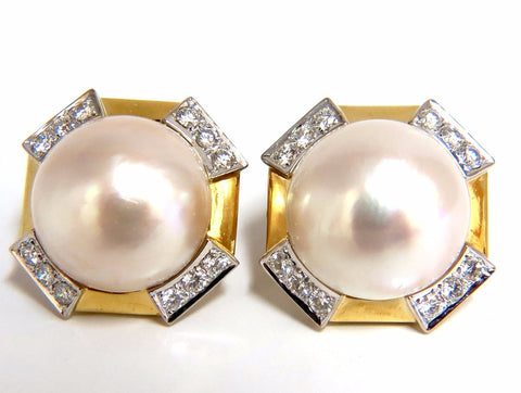 2.40ct. diamonds mabe pearl clip earrings 18kt omega vintage deco