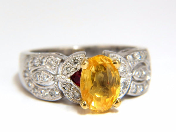 3.28ct natural yellow sapphire diamonds ring platinum