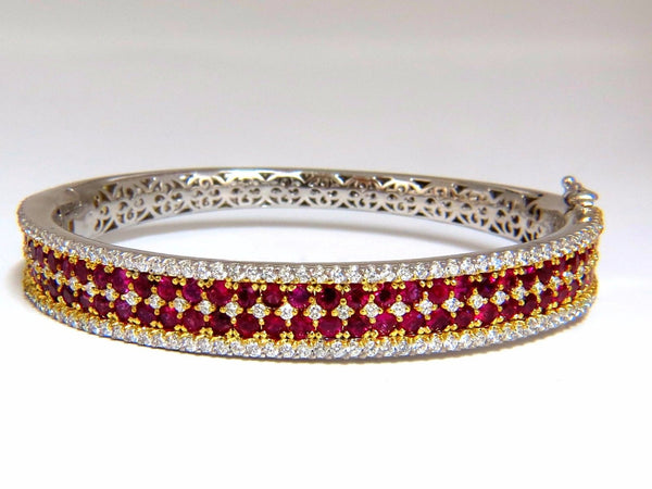 8.00ct natural round cut ruby diamonds bangle bracelet 14kt