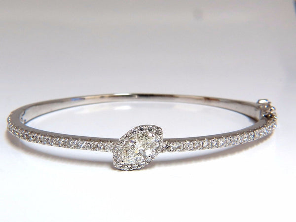 GIA Certified 1.84ct marquise diamond cluster halo bangle bracelet 14kt