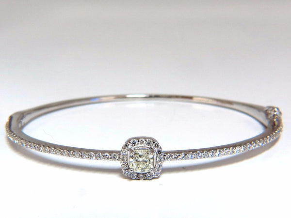 .95ct natural round diamond cluster halo bangle bracelet 14kt