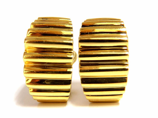18kt 3D Regency Deco Grill Form Earrings Omega