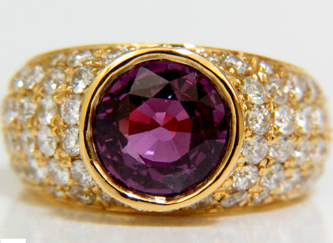 GIA 5.52CT NATURAL PURPLE PINK SAPPHIRE DIAMOND RING 14KT PRIME