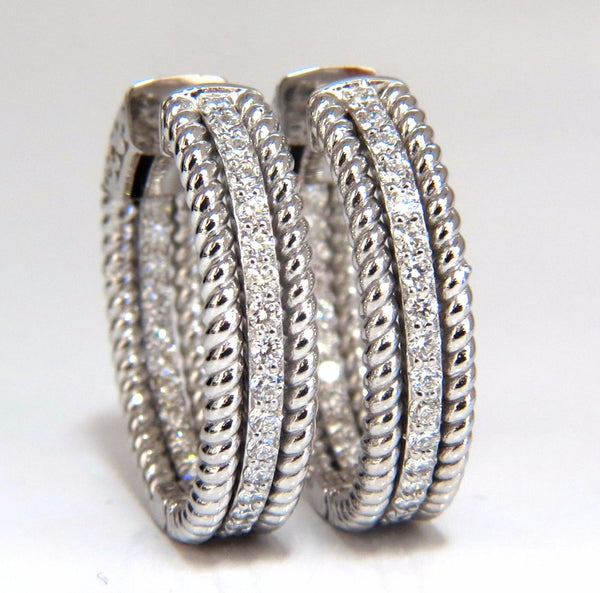 1.00ct natural diamond hoop earrings 14kt g/vs Barley Rope Twist 3D & Button