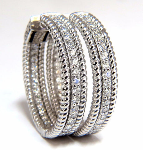 1.75ct natural diamond hoop earrings 14kt g/vs Barley Rope Twist 3D & Button