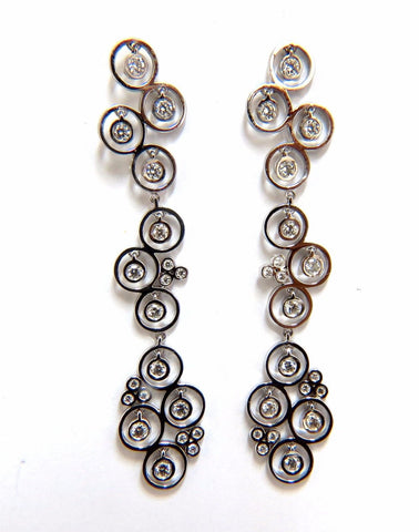 1.00ct diamonds floating circle dangle earrings 14kt bubble sparkles
