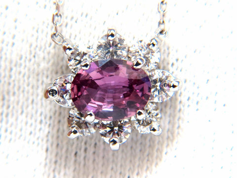 2.06ct natural purple pink sapphire cluster diamond necklace 14kt