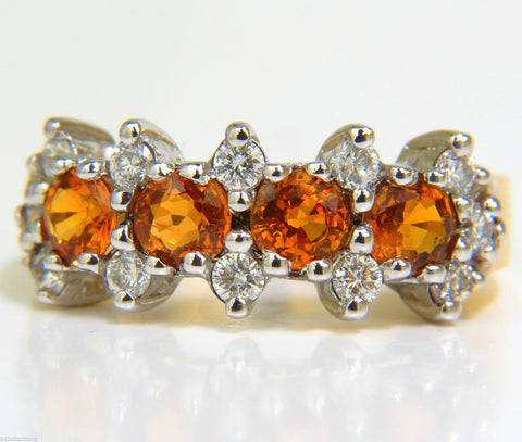 18KT 2.27CT NATURAL FINE GEM ORANGE SAPPHIRES DIAMOND BAND RING