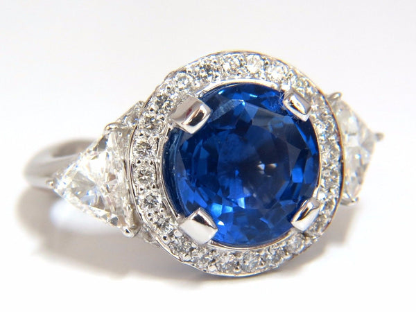 GIA Certified 7.10ct Natural No Heat Sapphire Diamond Ring Trilliants Unheated