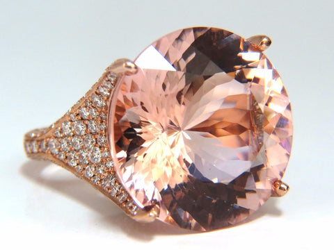 GIA Certified 28.14ct Natural Round Morganite Diamonds Ring 14kt Raised Crown