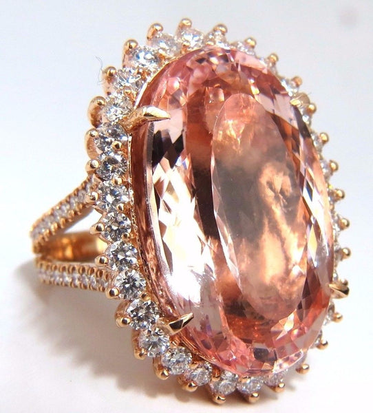GIA Certified 36.18ct Natural Orangy Pink Morganite Diamonds Ring 18kt