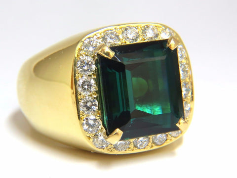GIA Certified 13.59ct Natural Vivid Blue Green Tourmaline diamonds ring 18kt