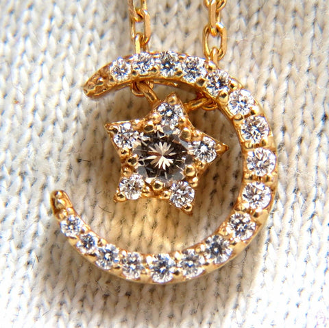 .30ct. Islam Crescent Star Necklace 18kt