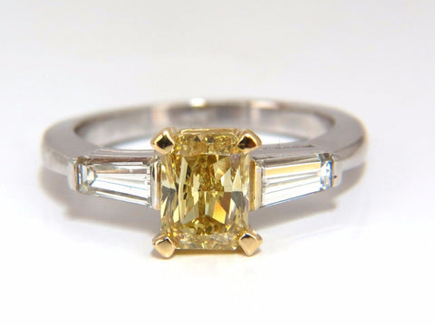 GIA Certified 2.12ct. Fancy Yellow Radian cut diamond ring 14kt