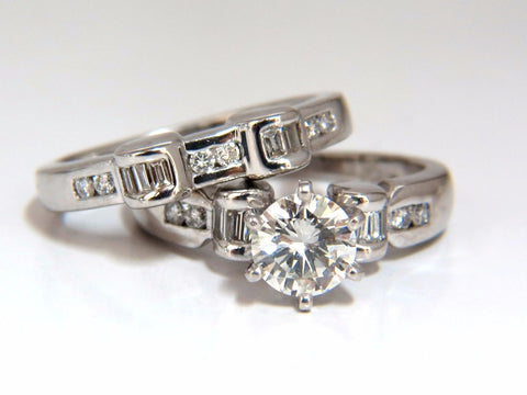 GIA Certified 1.40ct round diamond ring & Matching band Platinum H/VS