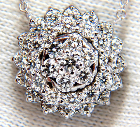 1.50ct diamonds halo cluster necklace 14kt. G/VS
