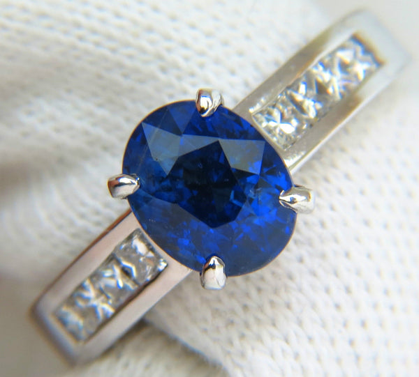 GIA NO HEAT 2.97CT NATURAL GEM BLUE SAPPHIRE DIAMOND RING UNHEATED 14KT
