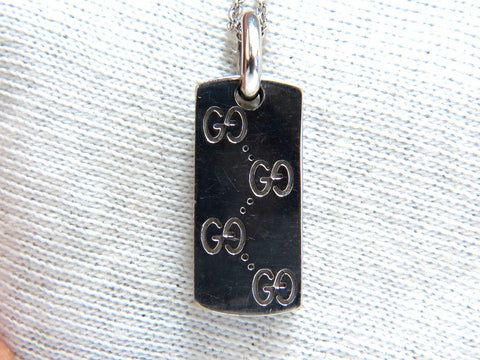 GG Designer 14kt Gold Dog Tag Charm Long Necklace 14kt.