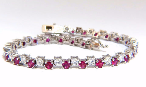 5.96ct natural ruby diamonds alternating tennis bracelet 14kt