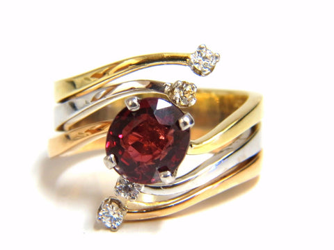 2.00ct Natural Blood Red Orange Spinel Diamonds Bypass Ring 14kt.