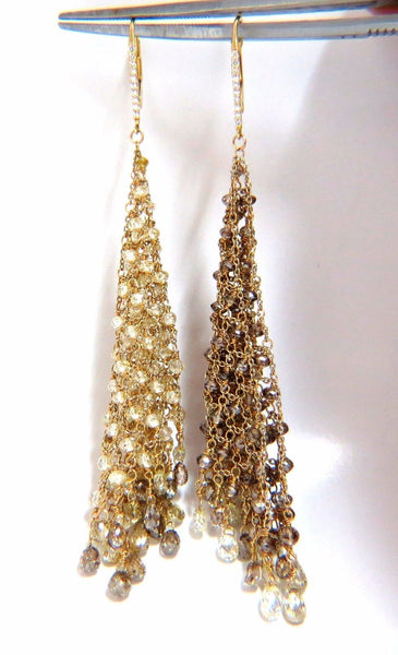 28.15ct Natural Fancy color briolette diamond dangle earrings 18kt Mesh