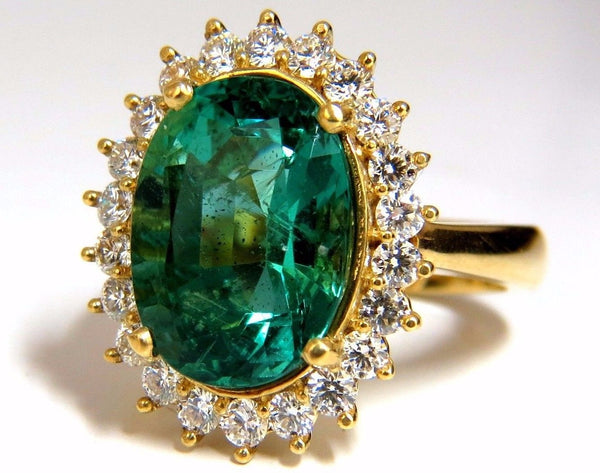 "GIA Certified 8.60ct natural green emerald diamonds ring 18kt ""F1"" Halo Prime"