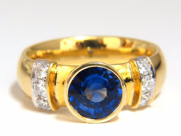 1.50ct natural vivid blue round sapphire diamonds ring 14kt Benchmark Comfort