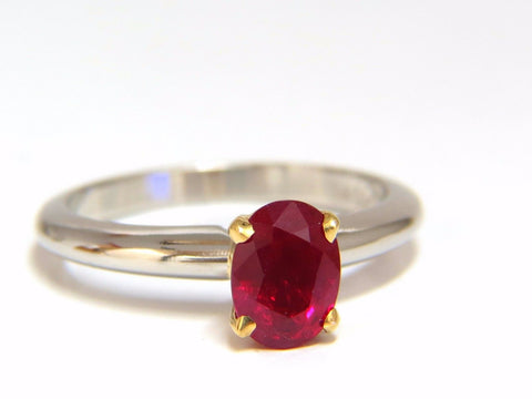GIA Certified 1.23ct Natural Ruby Ring 18kt / Platinum Engagement