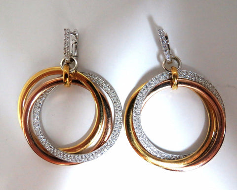 3.80ct natural diamonds rolling loop rings dangle earrings 14kt multi
