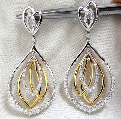 2.30ct natural diamonds 4 Tier loop dangle earrings 14kt G/Vs