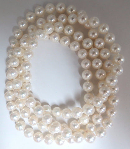 7.3mm Natural Japanese Pearls Endless Necklace / Double Wrap 34inch