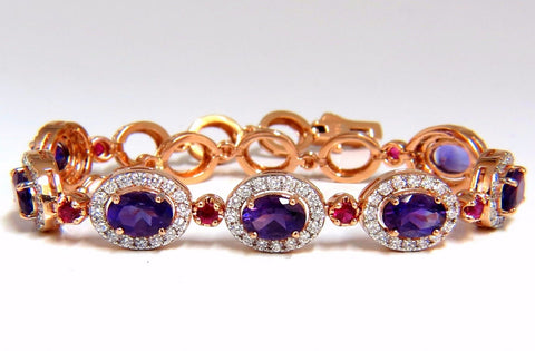 6.46ct natural amethyst ruby diamonds halo bracelet 14kt