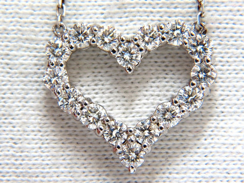Heart Natural diamonds necklace 14kt g/vs 17 inch common prong