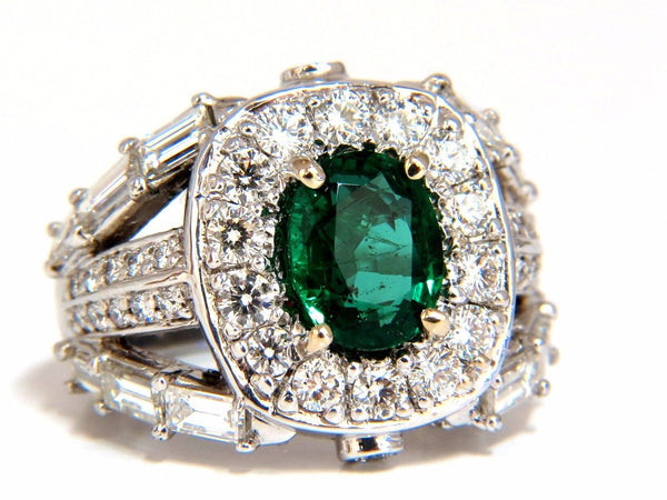 6.00ct natural vivid bright green emerald diamonds ring 14kt