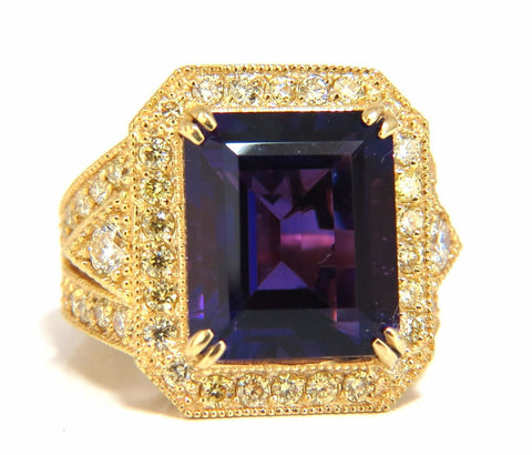 11.09ct Natural Amethyst Yellow diamond ring 14kt