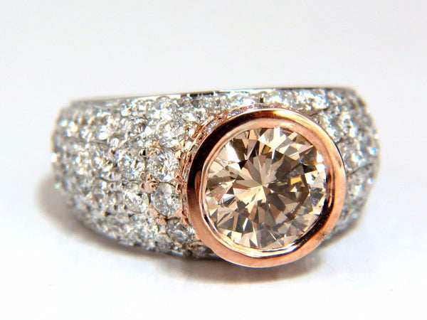 GIA Certified 3.08ct. Fancy light brown round cut diamond ring 14kt