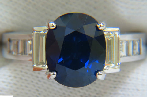 GIA 6.83CT NATURAL GEM ROYAL BLUE SAPPHIRE DIAMOND RING 14KT VS