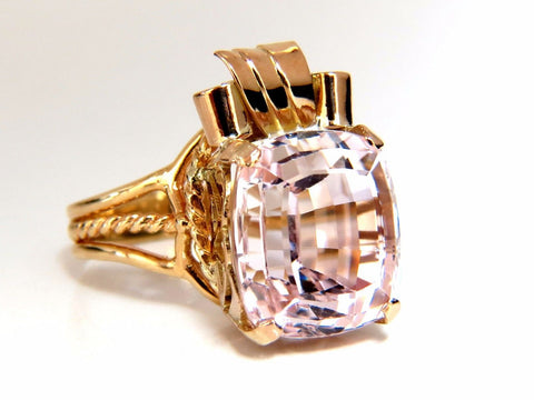 14.60ct natural Pink Kunzite Victorian solitaire ring 14kt