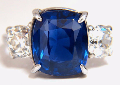 AGL Certified 9.23ct Natural No Heat Sri Lanka Sapphire Diamond Ring Platinum