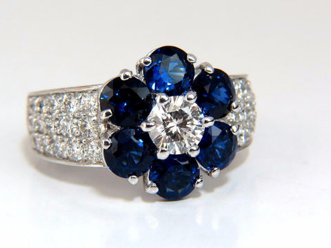 3.96ct natural sapphires diamond cluster ring 14kt royal blue floretta
