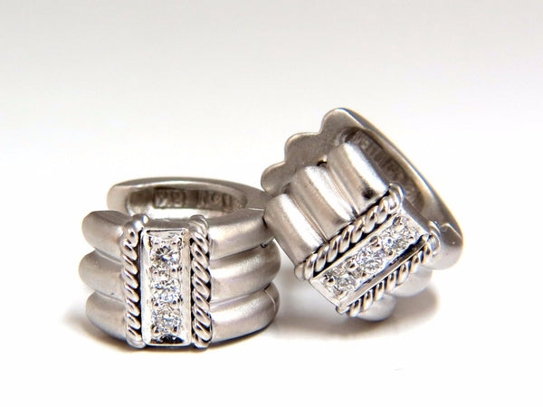 .40ct diamonds semi hoop / huggie diamond earrings 18kt