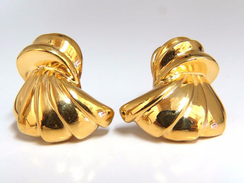 14kt shell form 3d clip on earrings 19 gram